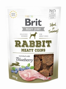 Brit Jerky Snack Meaty Coins Rabbit Blueberry 80g