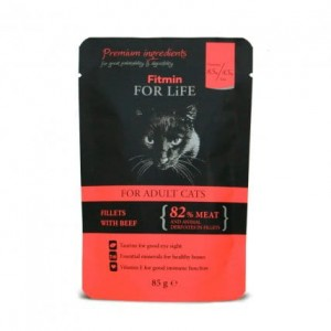 Fitmin cat For Life Adult Beef 6x85g